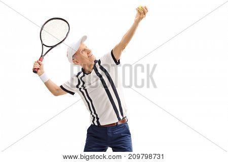 Old tennis player preparing to serve isolated on white background