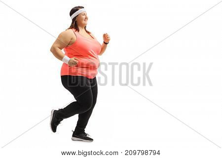 Full length profile shot of an overweight girl running isolated on white background