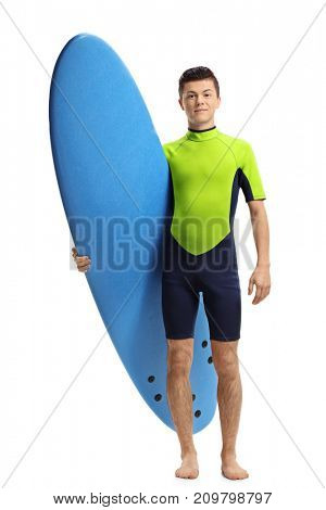 Full length portrait of a teenage surfer with a surfboard isolated on white background