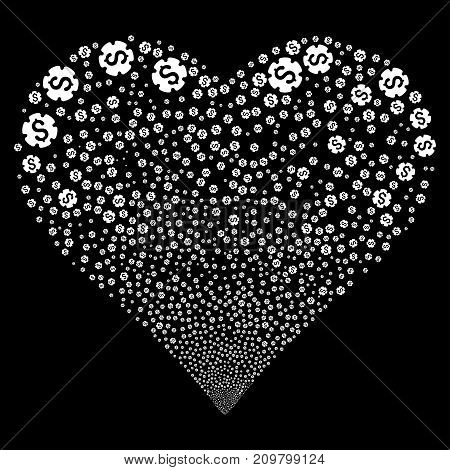 Financial Settings Gear fireworks with heart shape. Vector illustration style is flat white iconic symbols on a black background. Object salute organized from scattered design elements.