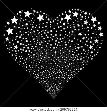 Fireworks Star fireworks with heart shape. Vector illustration style is flat white iconic symbols on a black background. Object stream done from random symbols.