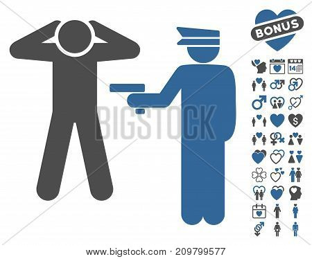 Arrest icon with bonus valentine design elements. Vector illustration style is flat iconic cobalt and gray symbols on white background.