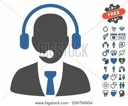 Call Center pictograph with bonus amour design elements. Vector illustration style is flat iconic cobalt and gray symbols on white background.