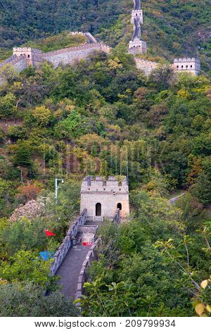 Famous Great Wall of China, section Mutianyu, located nearby Beijing city