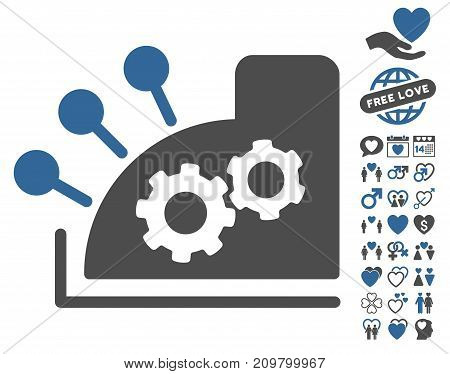 Cash Register pictograph with bonus decoration images. Vector illustration style is flat iconic cobalt and gray symbols on white background.