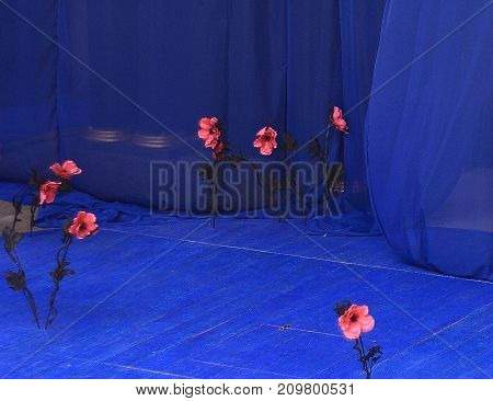 Pink artificial flowers on the blue background of theatrical scene before performance started.