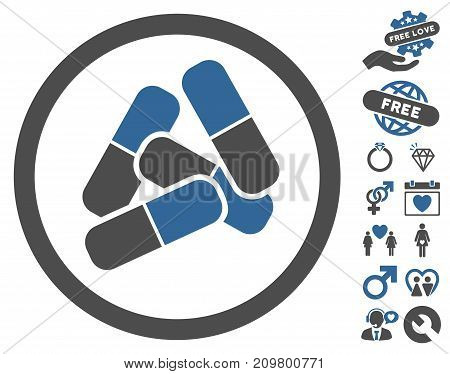 Drugs pictograph with bonus romantic symbols. Vector illustration style is flat iconic cobalt and gray symbols on white background.