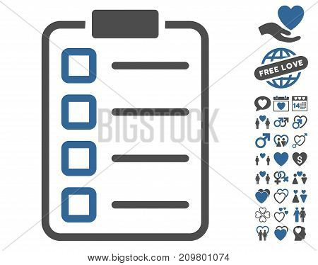 Examination pictograph with bonus passion symbols. Vector illustration style is flat iconic cobalt and gray symbols on white background.