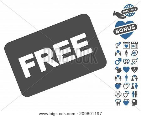 Free Card pictograph with bonus marriage icon set. Vector illustration style is flat iconic cobalt and gray symbols on white background.