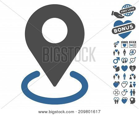 Geo Targeting icon with bonus dating pictograms. Vector illustration style is flat iconic cobalt and gray symbols on white background.