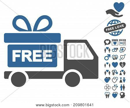 Gift Delivery pictograph with bonus lovely symbols. Vector illustration style is flat iconic cobalt and gray symbols on white background.