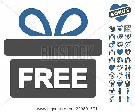 Gift pictograph with bonus decorative pictograph collection. Vector illustration style is flat iconic cobalt and gray symbols on white background.