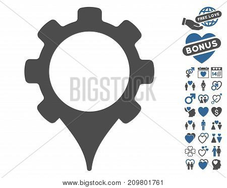 GPS Settings icon with bonus romantic icon set. Vector illustration style is flat iconic cobalt and gray symbols on white background.