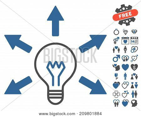 Idea Bulb pictograph with bonus love pictograms. Vector illustration style is flat iconic cobalt and gray symbols on white background.