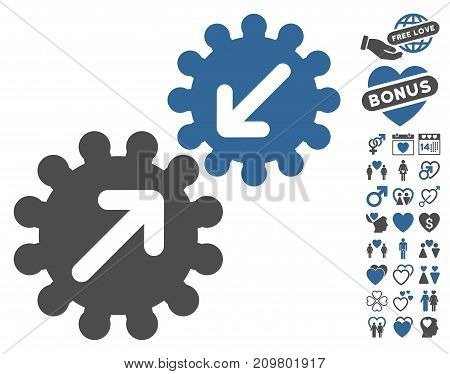 Integration Gears pictograph with bonus love icon set. Vector illustration style is flat iconic cobalt and gray symbols on white background.