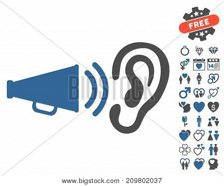 Listen Sound pictograph with bonus love pictures. Vector illustration style is flat iconic cobalt and gray symbols on white background.
