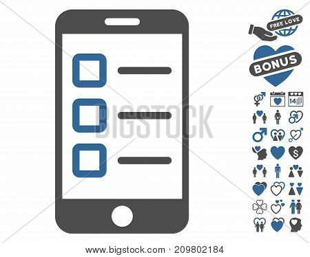 Mobile Test pictograph with bonus decoration pictures. Vector illustration style is flat iconic cobalt and gray symbols on white background.