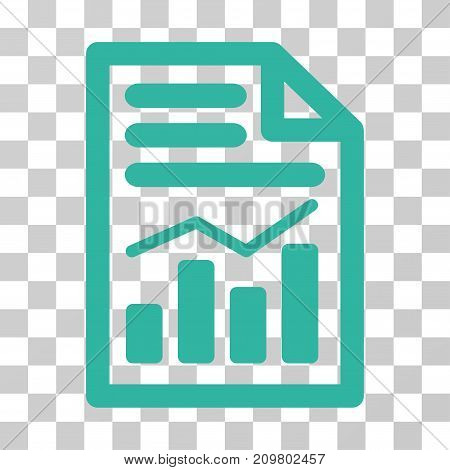 Charts Page icon. Vector illustration style is flat iconic symbol, cyan color, transparent background. Designed for web and software interfaces.