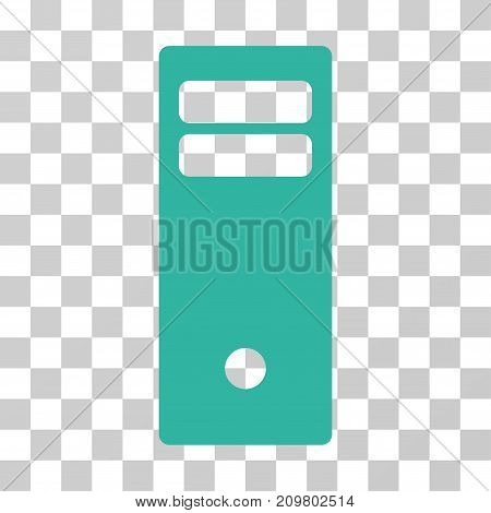 Computer Mainframe icon. Vector illustration style is flat iconic symbol, cyan color, transparent background. Designed for web and software interfaces.
