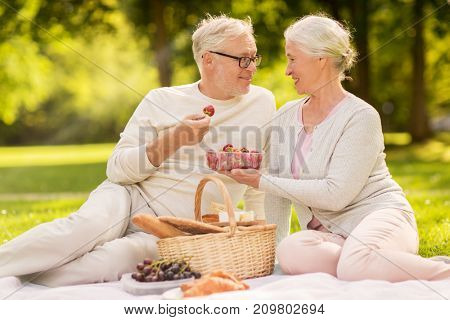 old age, leisure and people concept - happy senior couple with picnic basket eating strawberries at summer park