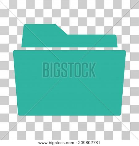 Folder icon. Vector illustration style is flat iconic symbol, cyan color, transparent background. Designed for web and software interfaces.