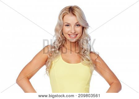 hairstyle and people concept - happy smiling beautiful young woman with blonde hair