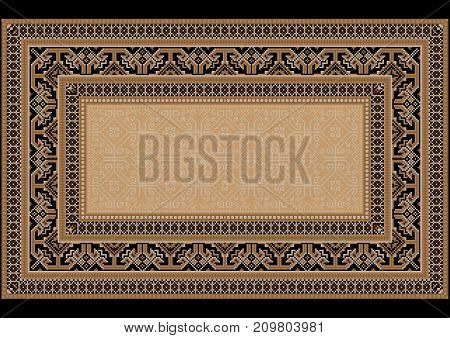 luxurious bright old design carpet with ethnic ornament on the sides and monophonic center in light brown shades