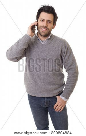 young casual happy man on the phone, isolated