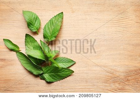 Fresh mint on wooden background