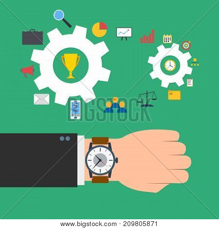 Time management concept. Wristwatch on the hand of businessman. Gears with business elements. Vector illustration.