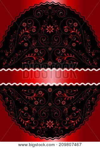 Satin red ribbon in red wavy openwork floral oval frame on satin red background