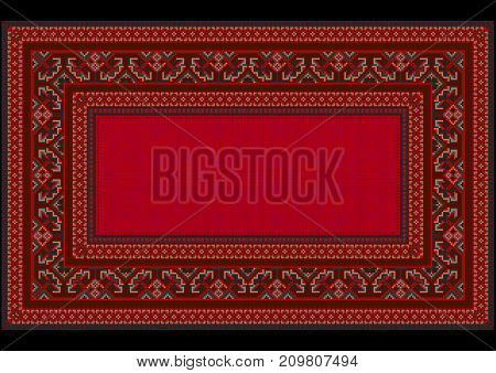 luxurious vintage oriental carpet with colorful ornament on the border of and shade less red on  mid
