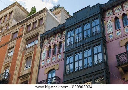 Bilbao pink scalar building architecture facade skyline