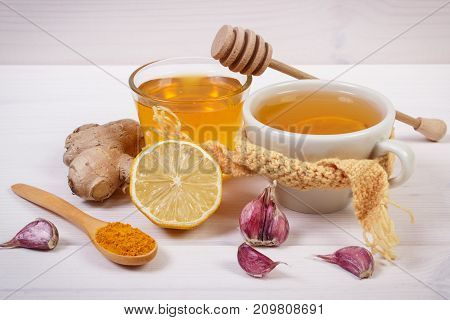 Cup Of Hot Tea With Lemon And Ingredients For Preparation Warming Beverage
