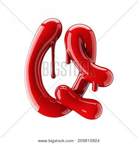 3D render of red alphabet make from nail polish. Handwritten cursive letter Q. Isolated on white background