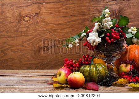 Fall Table Centerpiece With Snowberry, Green Pumpkin, Copy Space