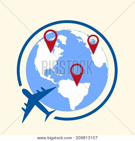 Around the world travelling by plane concept, travel pin location on a global map. Flat design  Illustration