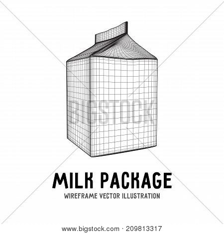 Milk package or juice box. Retail wireframe poly mesh vector illustration concept