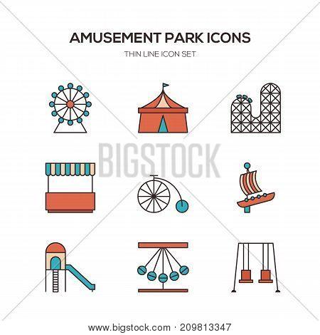 Amusement park line icons flat design vector illustration