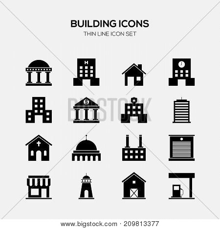 Building and real estate icon set black and white vector illustration