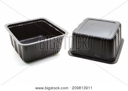 Black Plastic food container on white background