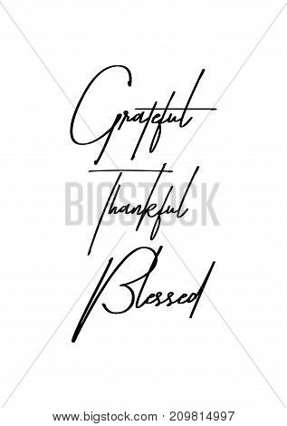 Christmas greeting card with brush calligraphy. Vector black with white background. Grateful, thankful, blessed.