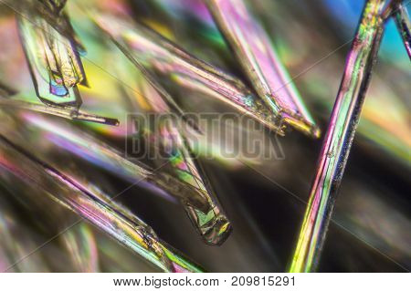 macro shot of microcrystals from Methylparaben in polarized light