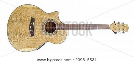 picture of a wooden acoustic guitar in white back