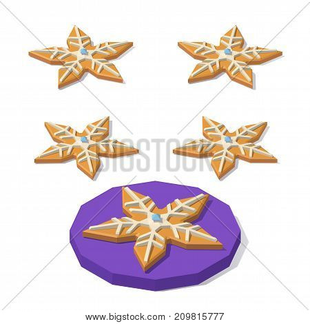 Vector isometric low poly Christmas cookie of star shape. Christmas cookie stocking from different angles.