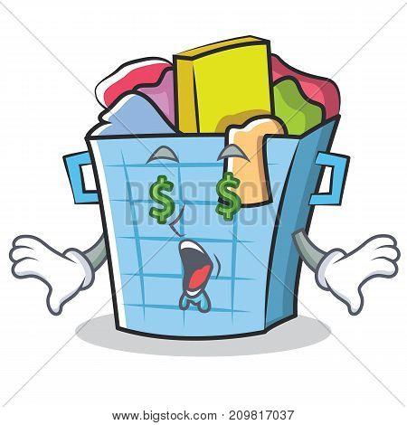 Money eye laundry basket character cartoon vector illustration