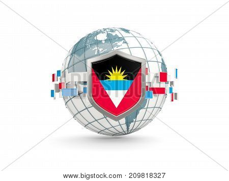 Globe And Shield With Flag Of Antigua And Barbuda Isolated On White