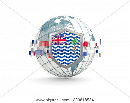 Globe And Shield With Flag Of British Indian Ocean Territory Isolated On White