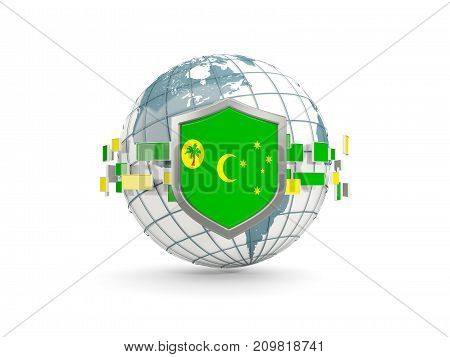 Globe And Shield With Flag Of Cocos Islands Isolated On White