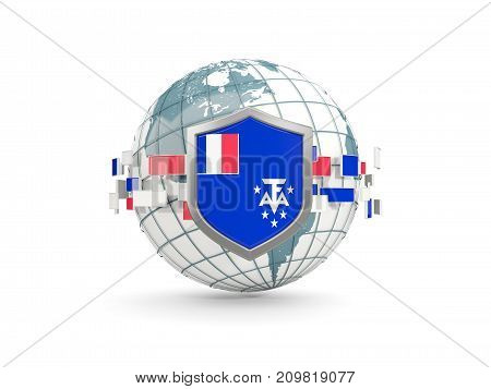 Globe And Shield With Flag Of French Southern Territories Isolated On White